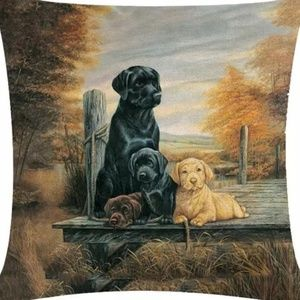 Other - Pillow Cover- New- Black Brown and Golden Labs